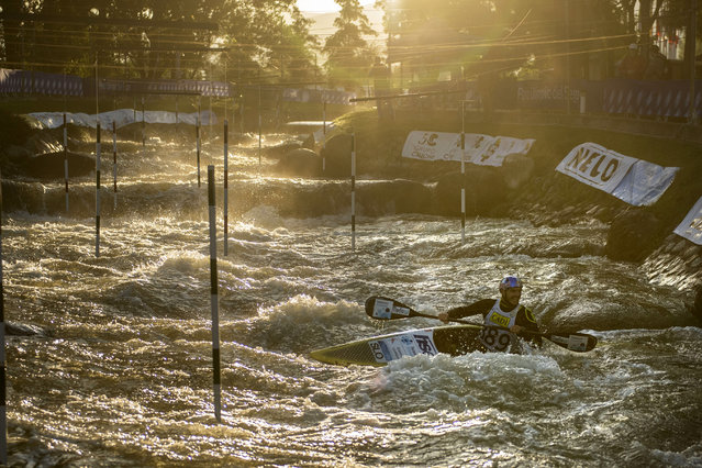 Slovenia's Peter Kauzer trains during a trainings session for the 2019 ICF Canoe Slalom World Championships on September 24, 2019 in La Seu d'Urgell, Spain. (Photo by Thomas Lohnes/Getty Images)