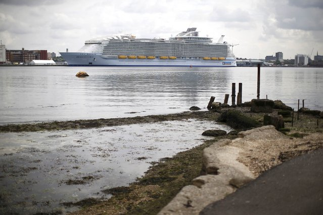 The worlds largest cruise ship, the 361 metres long, Harmony of the Seas, is berthed in port ahead its maiden voyage, in Southampton, Britain May 17, 2016. (Photo by Peter Nicholls/Reuters)