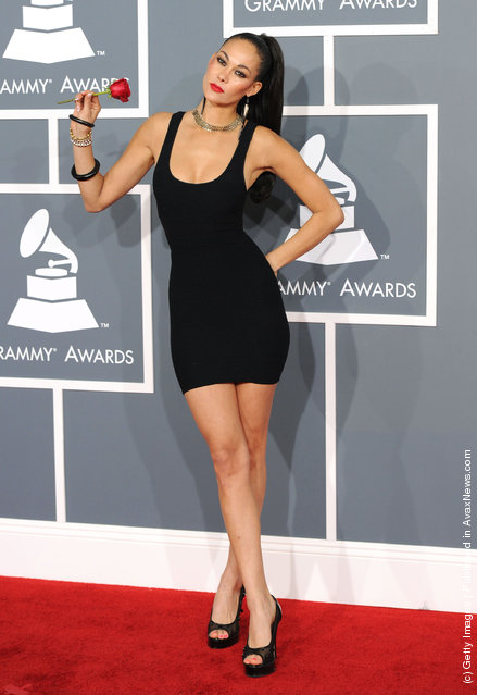 Super model Sade arrives at the 54th Annual GRAMMY Awards held at Staples Center