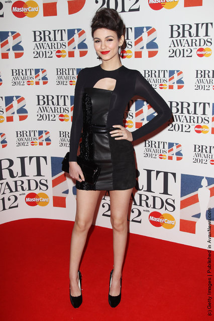 Victoria Justice attends The Brit Awards 2012 at The O2 Arena