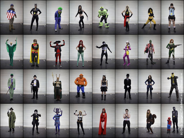 In this combination image visitors to the London Super Comic Convention dress as their favourite Marvel comic characters at ExCel 2012 in London, England