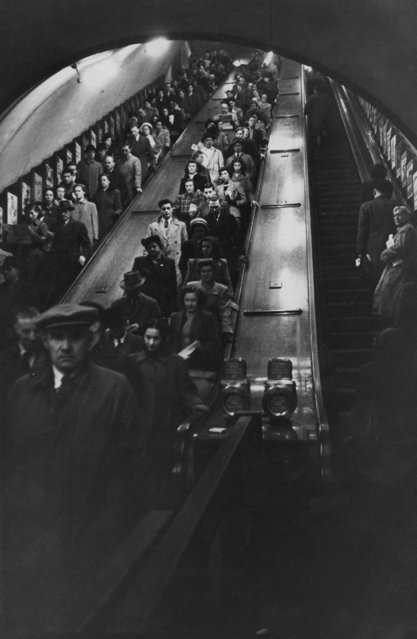 Rush hour passengers on an escalator at Piccadilly Circus underground station in London, January 1951. (Photo by John Chillingworth/Picture Post/Hulton Archive/Getty Images)
