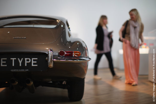 An E-Type Jaguar is display at the Victoria and Albert museums' new major exhibition