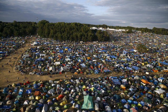 A bird's-eye view shows a camp site during the 21st Woodstock Festival in Kostrzyn-upon-Odra, Poland July 31, 2015. (Photo by Kacper Pempel/Reuters)