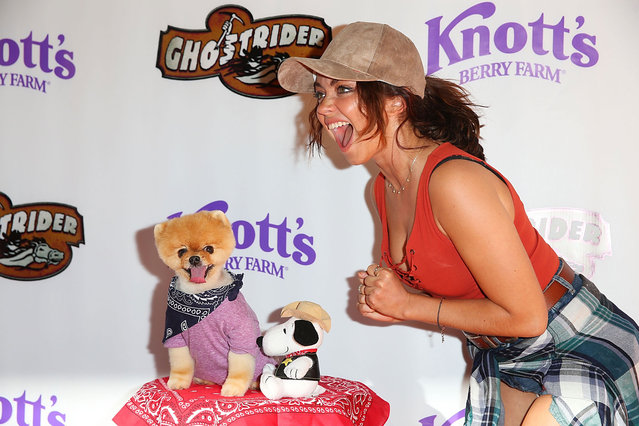 Sarah Hyland attends the GhostRider Reopening at Knott's Berry Farm on June 4, 2016 in Buena Park, California. (Photo by Joe Scarnici/Getty Images)