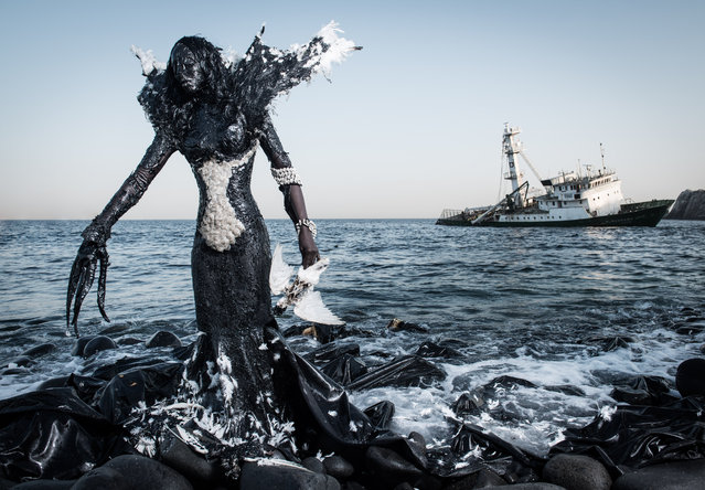 """""""When I started the project, I found out what Senegal's biggest environmental challenges were and chose nine topics that seemed the most visual"""". (Photo by Fabrice Monteiro/Photo Basel 2017/Mariane Ibrahim Gallery/The Guardian)"""