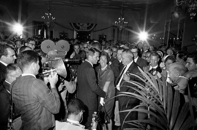 A new focus of attention at the Democratic convention in Atlantic City is Robert F. Kennedy, pictured as he and his wife Ethel arrived with Averell Harriman for a reception given in his honor by Mayor Robert F. Wagner of New York, August 25, 1964. Earlier the attorney general, with Wagner at his side, announced he would be a candidate for the Democratic nomination for U.S. Senator from New York and that he would quit as attorney general if he got it. (Photo by Bob Schutz/AP Photo)