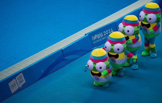Volunteers dresses as the official mascot perform a dance during the 2014 Youth Olympic Games in Nanjing, in eastern China's Jiangsu province on August 18, 2014.  More than 3,700 competitors aged 15 to 18 were expected to participate in the games, with many hoping to build towards a place at the 2016 Summer Games in Rio de Janeiro. (Photo by Johannes Eisele/AFP Photo)
