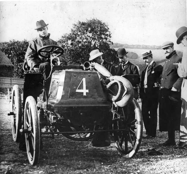 British motoring pioneer, Charles Stewart Rolls (1877–1910), in his first racing car, the 8hp Panhard Lavassor, built in 1898 and fitted with pneumatic tyres, 1899.