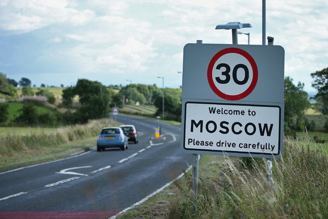 """A road sign welcomes careful drivers on August 7, 2013 in Moscow, Scotland. Moscow in the county Ayrshire, is thought to be a missspelling of of """"Moss-haw"""" or """"Moss-hall"""" which was formally adopted  in 1812 to mark Napoleon's retreat from Moscow. (Photo by Peter Macdiarmid/Getty Images)"""