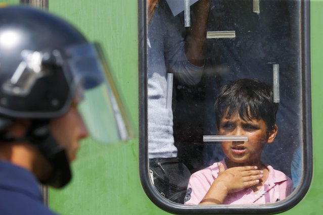 A migrant boy looks at a Hungarian policeman at the railway station in the town of Bicske, Hungary, September 3, 2015. (Photo by Laszlo Balogh/Reuters)
