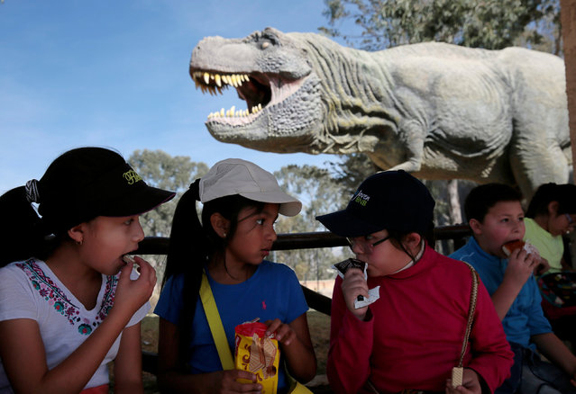 Children have a snack while sitting next to the replica of a Tyrannosaurus rex at the Cretaceous park in Cal Orcko, on the outskirts of Sucre, Bolivia, July 22, 2016. (Photo by David Mercado/Reuters)