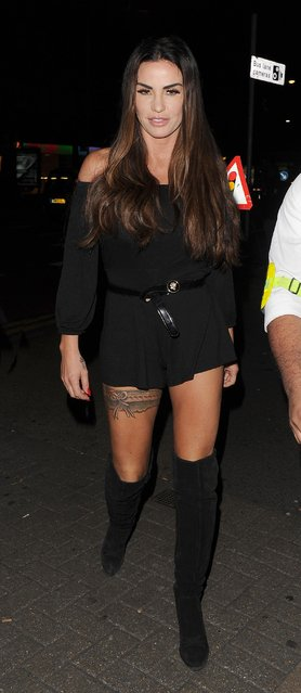 Katie Price at a nightclub in Sussex, England on October 6, 2017. (Photo by Vantage News)