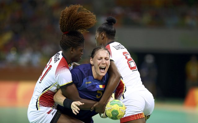 2016 Rio Olympics, Handball, Preliminary, Women's Preliminary Group A Romania vs Angola, Future Arena, Rio de Janeiro, Brazil on August 6, 2016. Melinda Gaiger (ROU) of Romania is blocked. (Photo by Marko Djurica/Reuters)