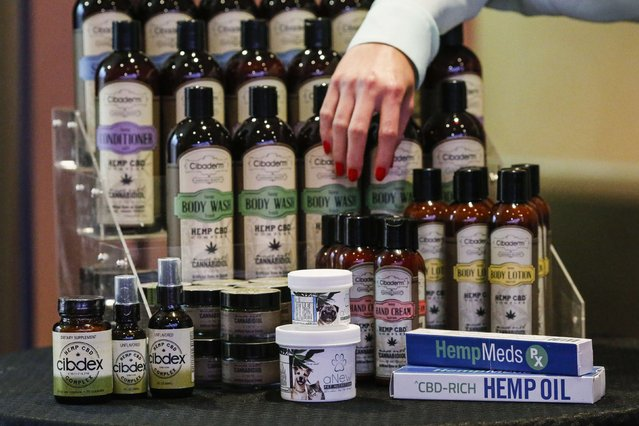 Cannabidiol (CBD) hemp products are seen during the International Cannabis Association Convention in New York, October 12, 2014. (Photo by Eduardo Munoz/Reuters)