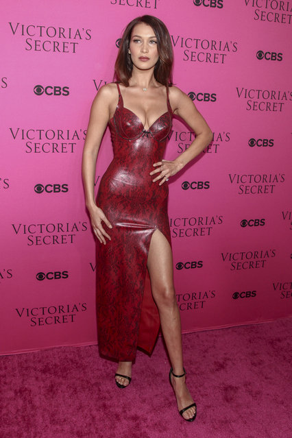 Bella Hadid attends the Victoria's Secret fashion show viewing party at Spring Studios on Tuesday, November 28, 2017, in New York. (Photo by Andy Kropa/Invision/AP Photo)