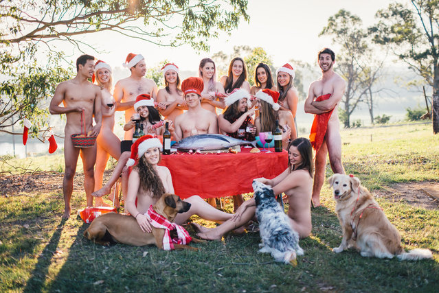 """Veterinary students have bared all for a nude calendar, donning nothing but strategically placed animals – for charity, of course. Fourth year students from the University of Sydney's veterinary science course in Camden, south-west of Sydney, stripped off their white coats to produce a tasteful """"Under the Overalls"""" calendar. (Photo by House of Cameo)"""