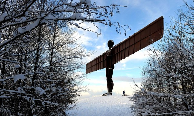 The landmark sculpture 'Angel of the North' by British artist Antony Gormley stands amongst snow near Gateshead, England, on November 28, 2010. (Photo by Andrew Yates/AFP Photo)