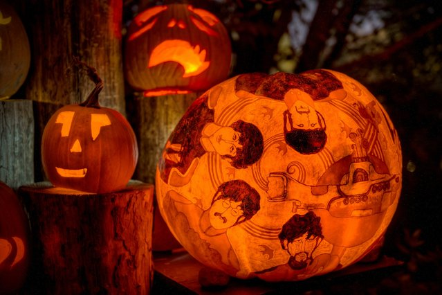 """""""The Beatles Yellow Submarine"""" is one of the famous faces carved into a pumpkin at the Roger Williams Park Zoo's """"Jack-O'-Lantern Spectacular 2014: Pumpkinville USA"""" event in Providence, R.I. (Photo by Frank C. Grace/Courtesy Jack-O-Lantern Spectacular)"""