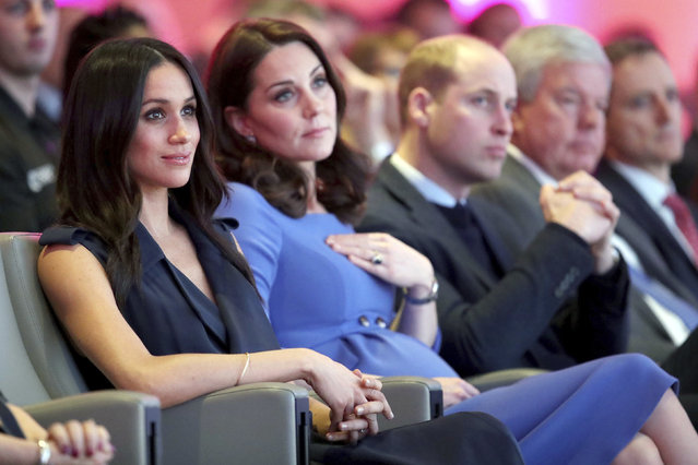 """From left, Meghan Markle, Kate, Duchess of Cambridge and Britain's Prince William during the first annual Royal Foundation Forum in London, Wednesday February 28, 2018. Under the theme """"Making a Difference Together"""", the event will showcase the programmes run or initiated by The Royal Foundation. (Photo by Chris Jackson/Pool via AP Photo)"""