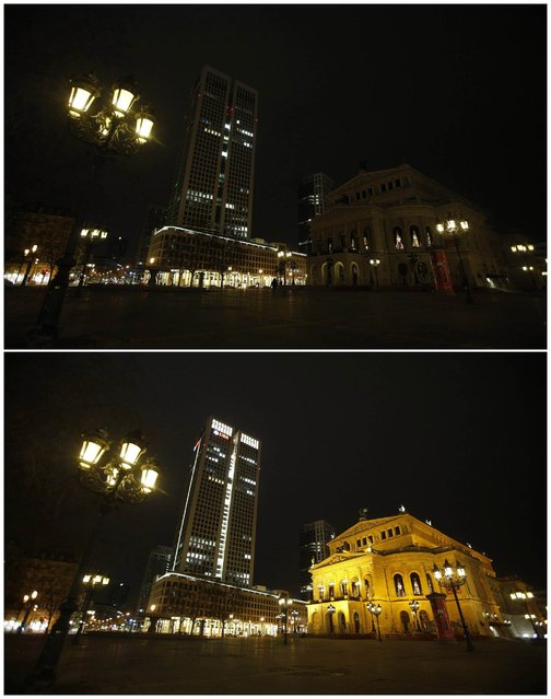 A combination photo shows the old opera and the opera tower during (top) Earth Hour, and after Earth Hour in Frankfurt March 23, 2013. Earth Hour, when everyone around the world is asked to turn off lights for an hour from 8.30 p.m. local time, is meant as a show of support for action to confront climate change. (Photo by Lisi Niesner/Reuters)