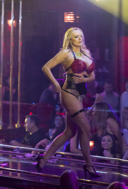p*rn star Stormy Daniels, who has been linked to Donald Trump, strips at Solid Gold strip club in Pompano Beach, Florida on March 9, 2018. Daniels is performing Friday and Saturday night at the all nude club. (Photo by Splash News and Pictures)