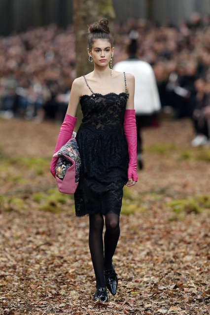 Model Kaia Gerber wears a creation for the Chanel ready-to-wear fall/winter 2018/2019 fashion collection presented in Paris, Tuesday March 6, 2018. (Photo by Thibault Camus/AP Photo)