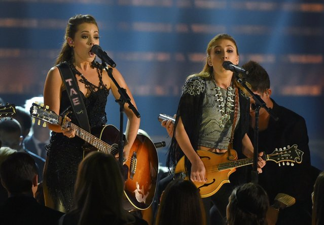 "Maddie and Tae (L) perform ""Girl In A Country Song"" at the 49th Annual Country Music Association Awards in Nashville, Tennessee November 4, 2015. (Photo by Harrison McClary/Reuters)"