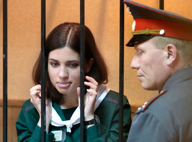 Nadezhda Tolokonnikova in court in Zubova Polyana, Russia, on April 26, 2013. (Photo by Mikhail Metzel/AP Photo)