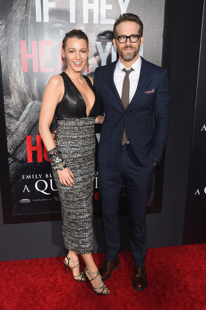 """Blake Lively (L) and Ryan Reynolds attend the Paramount Pictures New York Premiere of """"A Quiet Place"""" at AMC Lincoln Square theater onApril 2, 2018 in New York, New York. (Photo by Nicholas Hunt/Getty Images for Paramount Pictures)"""