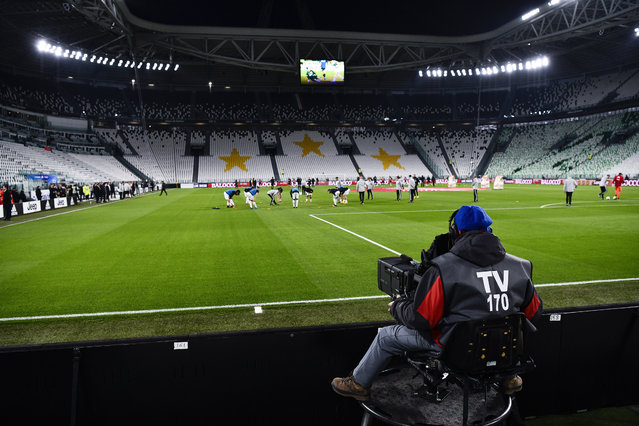 A view of the empty Juventus stadium, as a measure against coronavirus contagion, prior to the Serie A soccer match between Juventus and Inter, in Turin, Italy, Sunday, March 8, 2020. Serie A played on Sunday despite calls from Italy's sports minister and players' association president to suspend the games in Italy's top soccer division. (Photo by Marco Alpozzi/LaPresse via AP Photo)