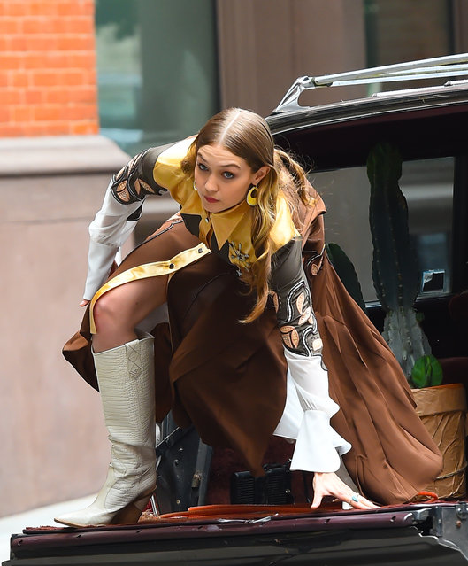 Model Gigi Hadid is seen on set of a photoshoot in Soho on May 31, 2018 in New York City. (Photo by Raymond Hall/GC Images)