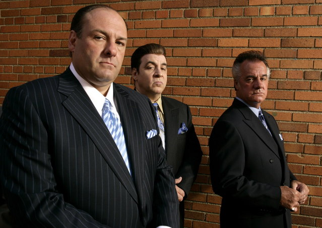"James Gandolfini (left), Steve Van Zandt and Tony Sirico may or may not be up against the wall as ""The Sopranos"" heads toward a last rendezvous at The Bada Bing. (Photo by HBO)"