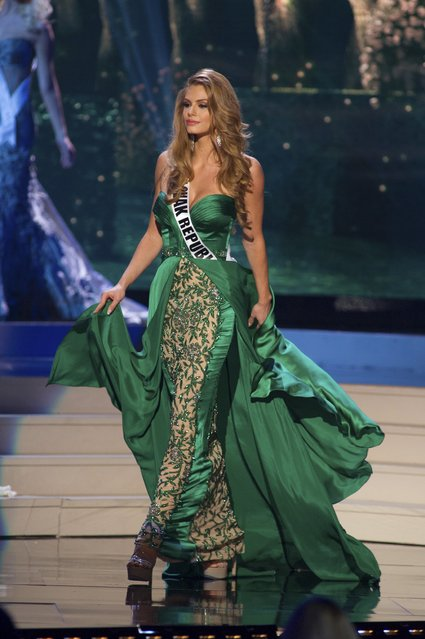 Silvia Prochadzkova, Miss Slovak Republic 2014 competes on stage in her evening gown during the Miss Universe Preliminary Show in Miami, Florida in this January 21, 2015 handout photo. (Photo by Reuters/Miss Universe Organization)