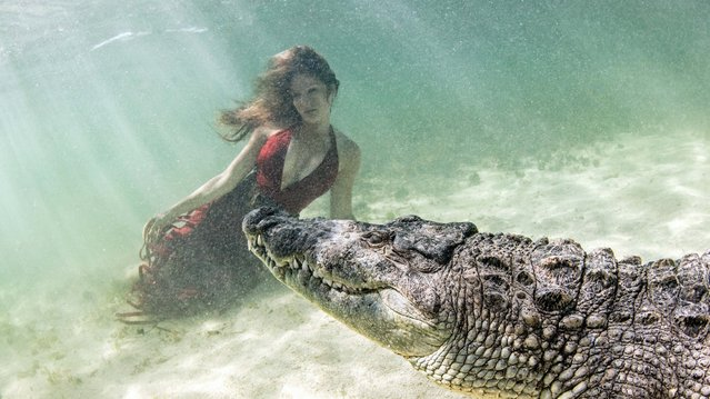 A model poses with a crocodile at Chinchorro Banks, Mexico on June 21, 2018. (Photo by Ken Kiefer/Caters News Agency)