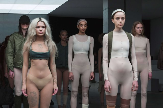 Models present creations resulting from a Fall/Winter 2015 collaboration between Kanye West and Adidas at New York Fashion Week February 12, 2015. (Photo by Lucas Jackson/Reuters)