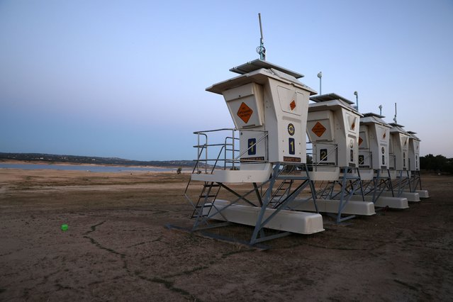 Empty lifeguard stands sit on the dry lakebed of Folsom Lake on May 10, 2021 in Granite Bay, California. California Gov. Gavin Newsom declared a drought emergency in 41 of California's 58 counties, about 30 percent of the state's population. Folsom Lake is currently at 38 percent of normal capacity. (Photo by Justin Sullivan/Getty Images)
