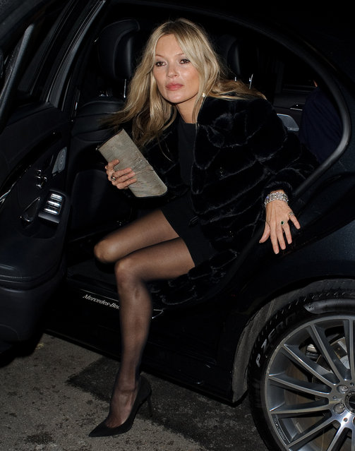 Kate Moss seen attending the Vogue BAFTA party at Annabel's club in Mayfair on February 10, 2019 in London, England. (Photo by GOR/GC Images)