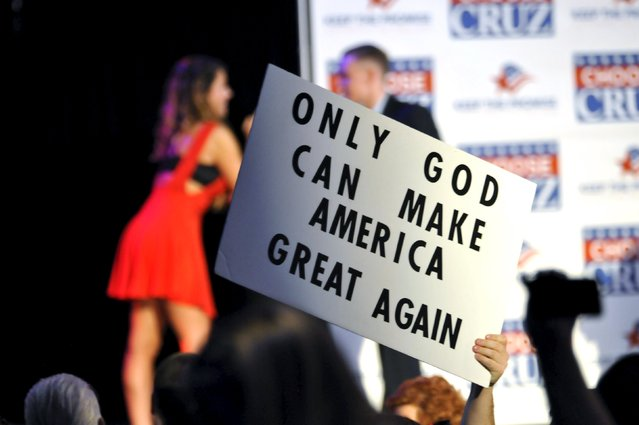 A homemade campaign sign is seen at a rally for Republican U.S. presidential candidate Ted Cruz in Oklahoma City, Oklahoma February 28, 2016. (Photo by Nick Oxford/Reuters)