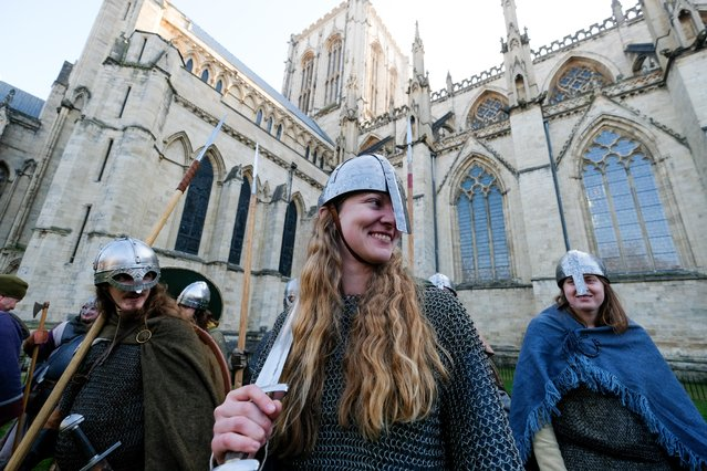 Viking re-enactors prepare to march through York City during the Jorvik Viking Festival on February 23, 2019 in York, England. The annual Jorvik Viking Festival held in York is recognised as the largest event of its kind in Europe. This year the festival remembers the role that the Viking women played during those turbulent times. The festival is a city-wide celebration of York's rich Norse heritage and commemorates a seminal moment in British history, the arrival and conquest of England by the Viking Army in AD 866. A programme of events such as living history encampments, walks, talks, tours and combat performances entertain and educate visitors to the festival. (Photo by Ian Forsyth/Getty Images)