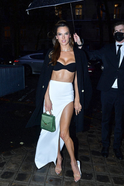 """Brazilian-American model Alessandra Ambrosio and other celebs arrive at the """"Vogue Paris Celebrates 100"""" party at Palais Galliera during spring/summer 2022 Fashion Week in Paris, France on October 1, 2021. (Photo by Best Image/Backgrid USA)"""