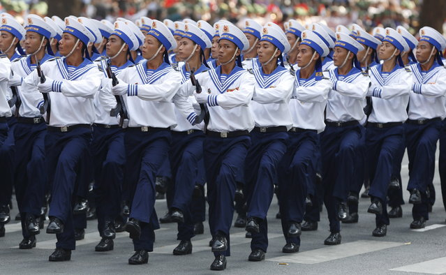 Vietnamese soldier of the Navy march during a military parade as part of the 40th anniversary of the fall of Saigon in Ho Chi Minh City, April 30, 2015. (Photo by Reuters/Kham)