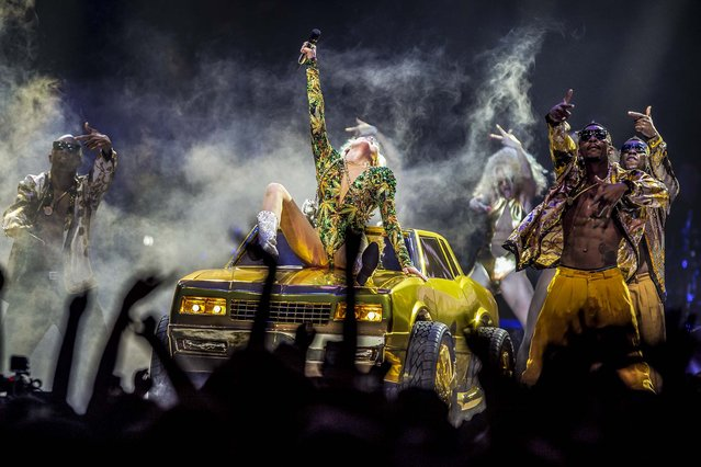 Miley Cyrus performs at the Tacoma Dome, in Tacoma, Wash. The concert was the first stop in the U.S. for her Bangerz tour, on February 16, 2014. (Photo by Thomas Soerenes/The News Tribune)