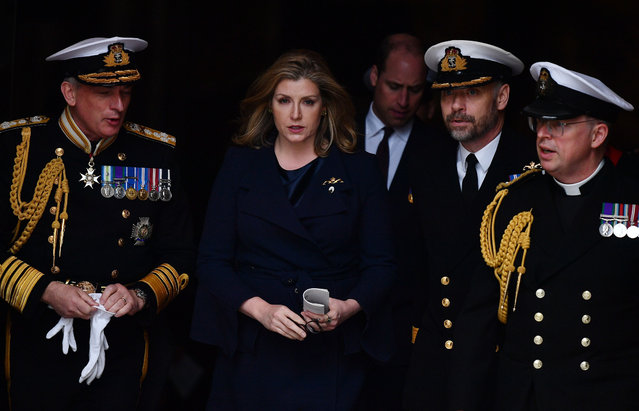 Britain's Defence minister Penny Mordaunt leaves Westminster Abbey after attending a service to recognise fifty years of continuous at sea deterrent in London on May 3, 2019. (Photo by Daniel Leal-Olivas/AFP Photo)