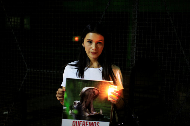 A woman participates in a protest over the death of a hippo after an attack in San Salvador, El Salvador, February 27, 2017. (Photo by Jose Cabezas/Reuters)