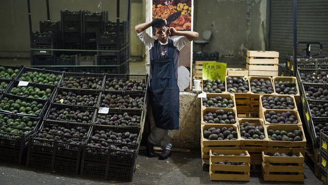 In this August 9, 2016 file photo, an avocado vendor talks on his cellphone at a market in Mexico City. Summary: The potential Trump tariffs are expected to hit U.S. avocado lovers more than Mexican producers. (Photo by Nick Wagner/AP Photo/File)