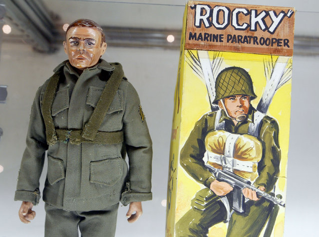 """The prototype for the G.I. Joe action figure, """"Rocky the Paratrooper"""", is on display at the 2003 Hasbro International G.I. Joe Collectors' Convention June 27, 2003 in Burlingame, California. The prototype is expected to fetch $600,000 when it goes up for auction. (Photo by Justin Sullivan/Getty Images)"""