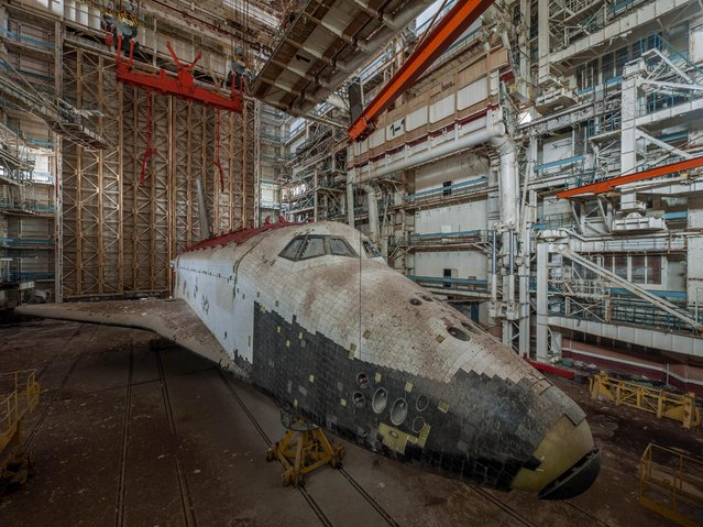 The shuttle never got its final coat of paint and was left unfinished. (Photo by Ralph Mirebs/Exclusivepix Media)