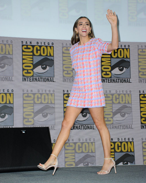 """Chloe Bennet onstage at the Marvel's """"Agents Of S.H.I.E.L.D."""" panel during 2019 Comic-Con International at San Diego Convention Center on July 18, 2019 in San Diego, California. (Photo by Albert L. Ortega/Getty Images)"""