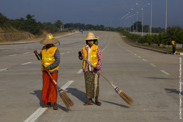 Street sweepers keep the wide streets clean